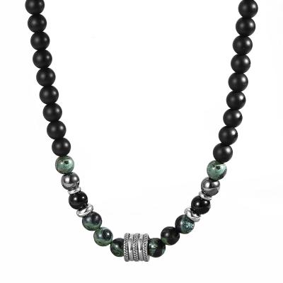 Pánský korálkový náhrdelník Eric - Nefrit a Achát