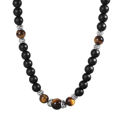 Pánský korálkový náhrdelník John - Tygří oko a Achát