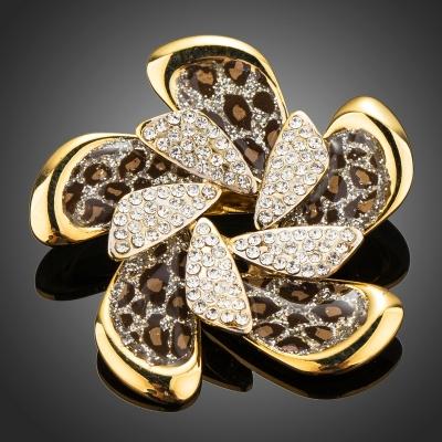 Brož Swarovski Elements Regina - leopardí vzor