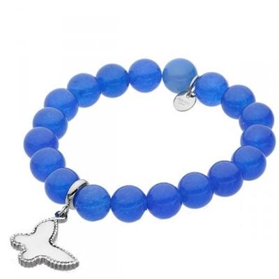 Náramek Nicol chirurgická ocel a přírodní modrý Jadeit - motýl