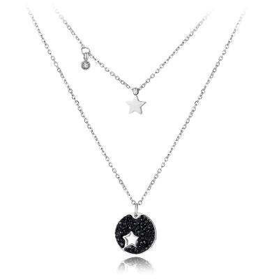 Náhrdelník Enita Black - chirurgická ocel, krystaly Swarovski, hvězda