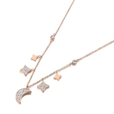 Náhrdelník Swarovski Elements Gold Moon&Star - chirurgická ocel