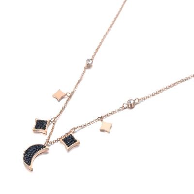 Náhrdelník Swarovski Elements Gold Black Moon&Star - chirurgická ocel