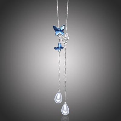 Dlouhý náhrdelník Swarovski Elements Crystal Butterfly - motýl