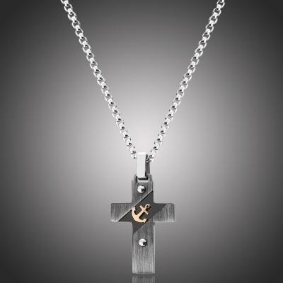 Pánský náhrdelník Guillermo - chirurgická ocel, kříž, námořní kotva