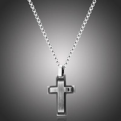 Pánský ocelový náhrdelník Yves s černým zirkonem - kříž