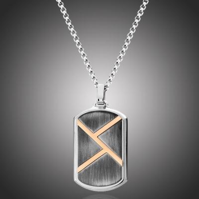 Pánský ocelový náhrdelník Jean-Pierre - vojenská známka