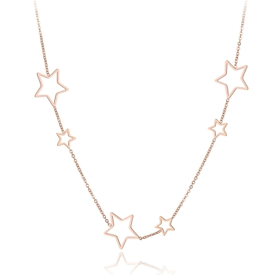 Ocelový náhrdelník Lauro Gold - chirurgická ocel, hvězdy