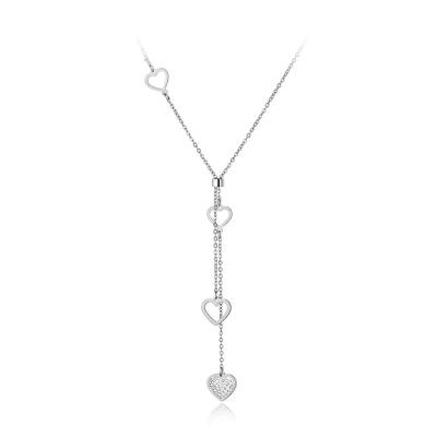 Ocelový náhrdelník se zirkony Elgio - chirurgická ocel, srdíčko