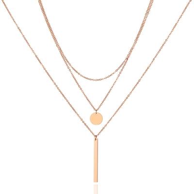 Trojitý ocelový náhrdelník Francisco Gold - chirurgická ocel