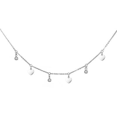 Ocelový náhrdelník se zirkony Murarito - chirurgická ocel, srdíčko