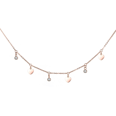 Ocelový náhrdelník se zirkony Murarito Gold - chirurgická ocel, srdíčko