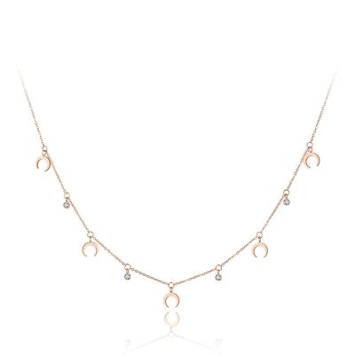 Ocelový náhrdelník se zirkony Susan Gold - chirurgická ocel