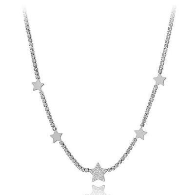 Ocelový choker náhrdelník se zirkony Patricia - chirurgická ocel, hvězdy