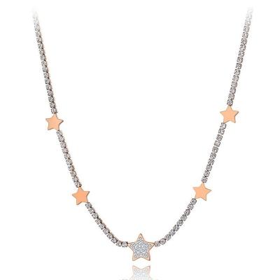 Ocelový náhrdelník se zirkony Patricia Gold - chirurgická ocel, hvězdy
