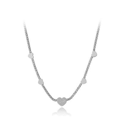 Ocelový choker náhrdelník se zirkony Stephanie - srdíčko