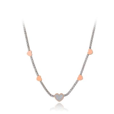 Ocelový choker náhrdelník se zirkony Stephanie Gold - srdíčko