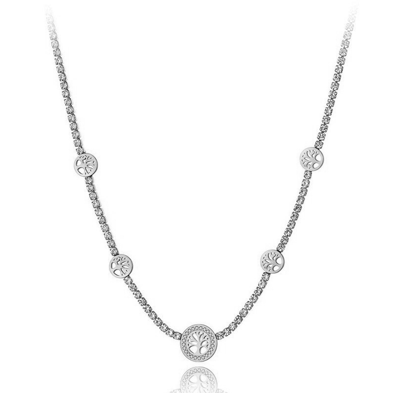 Ocelový choker náhrdelník se zirkony Amanda - strom života