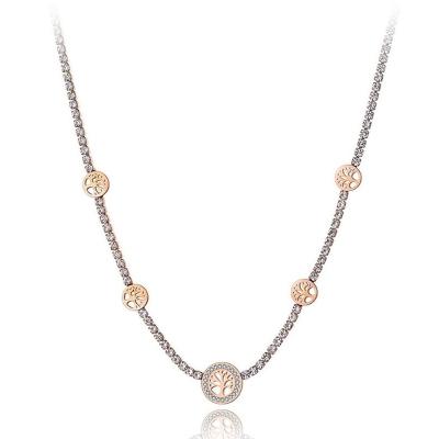 Ocelový choker náhrdelník se zirkony Amanda Gold - strom života