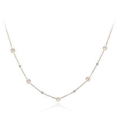 Ocelový náhrdelník se zirkony Sabrina Gold - strom života
