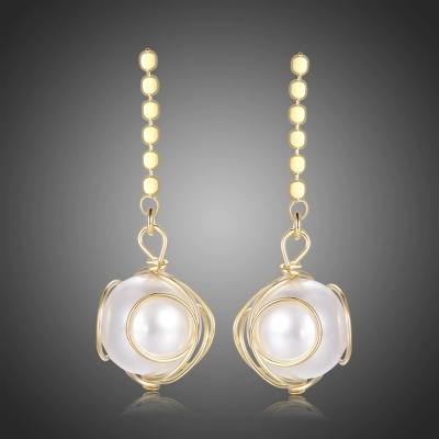 Pozlacené náušnice s perlou Damiana