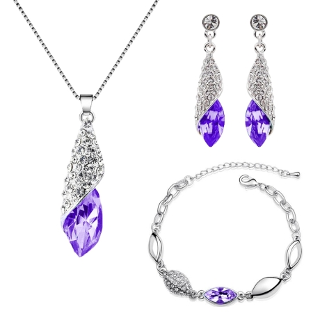 Souprava náhrdelníku, náušnic a náramku Elegance Ametyst