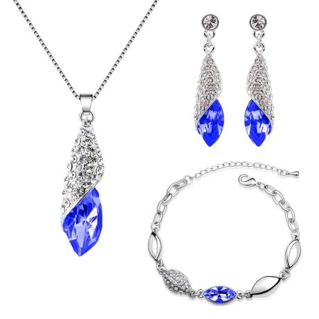 Souprava náhrdelníku, náušnic a náramku Elegance Sapphire