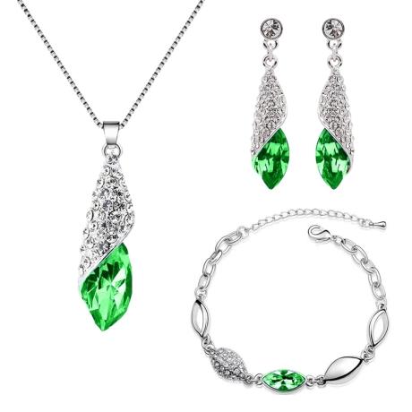 Souprava náhrdelníku, náušnic a náramku Elegance Smaragd
