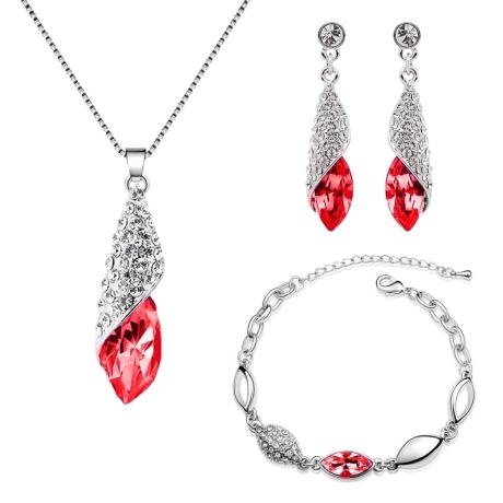Souprava náhrdelníku, náušnic a náramku Elegance Garnet