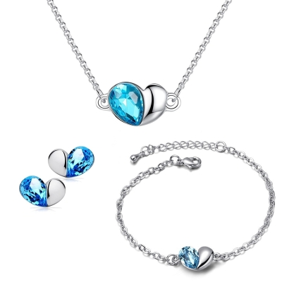 Souprava Swarovski Elements Heart Seablue