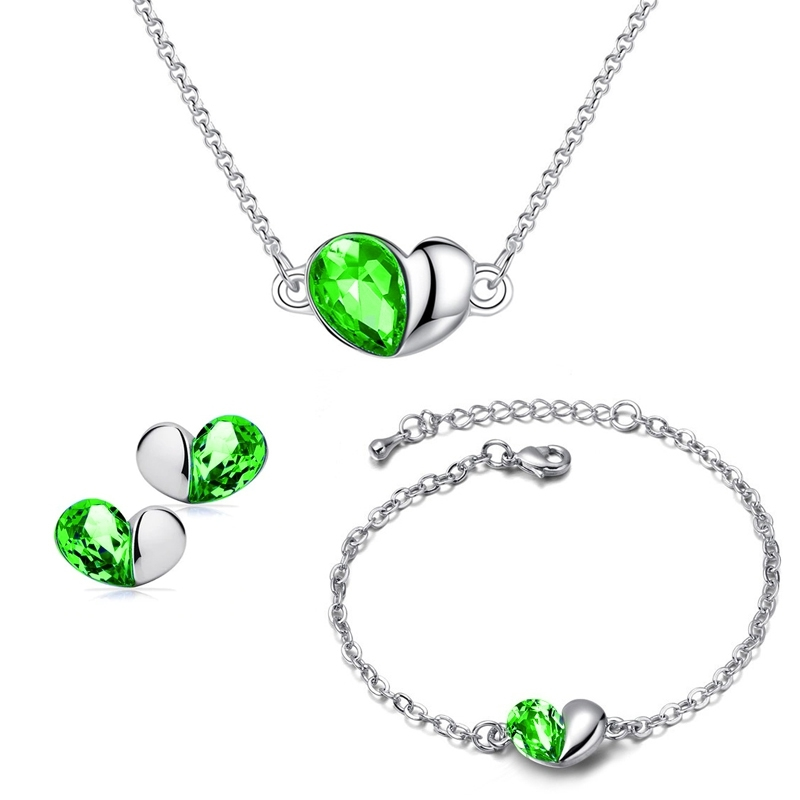 Souprava Swarovski Elements Heart Smaragd - srdíčko