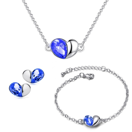 Souprava náhrdelníku, náušnic a náramku Heart Sapphire - srdíčko