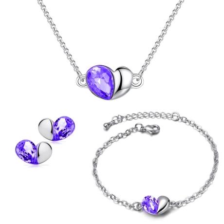 Souprava náhrdelníku, náušnic a náramku Heart Ametyst - srdíčko