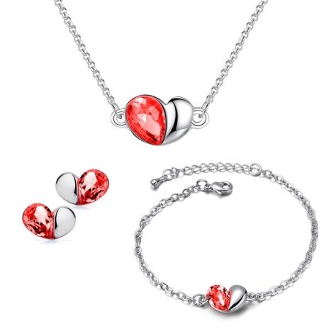 Souprava náhrdelníku, náušnic a náramku Heart Garnet - srdíčko