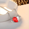 Souprava Swarovski Elements Heart Garnet - srdíčko