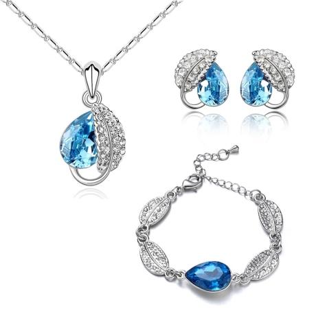 Souprava náhrdelníku, náušnic a náramku Leaf Seablue