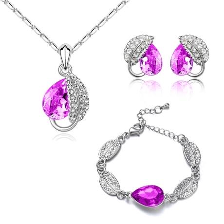 Souprava náhrdelníku, náušnic a náramku Leaf Rose