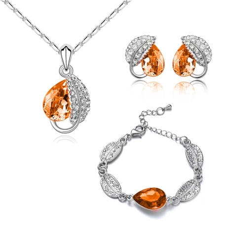 Souprava náhrdelníku, náušnic a náramku Leaf Orange