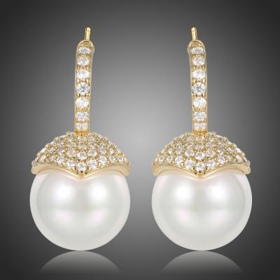Náušnice s perlou a zirkony Catherina