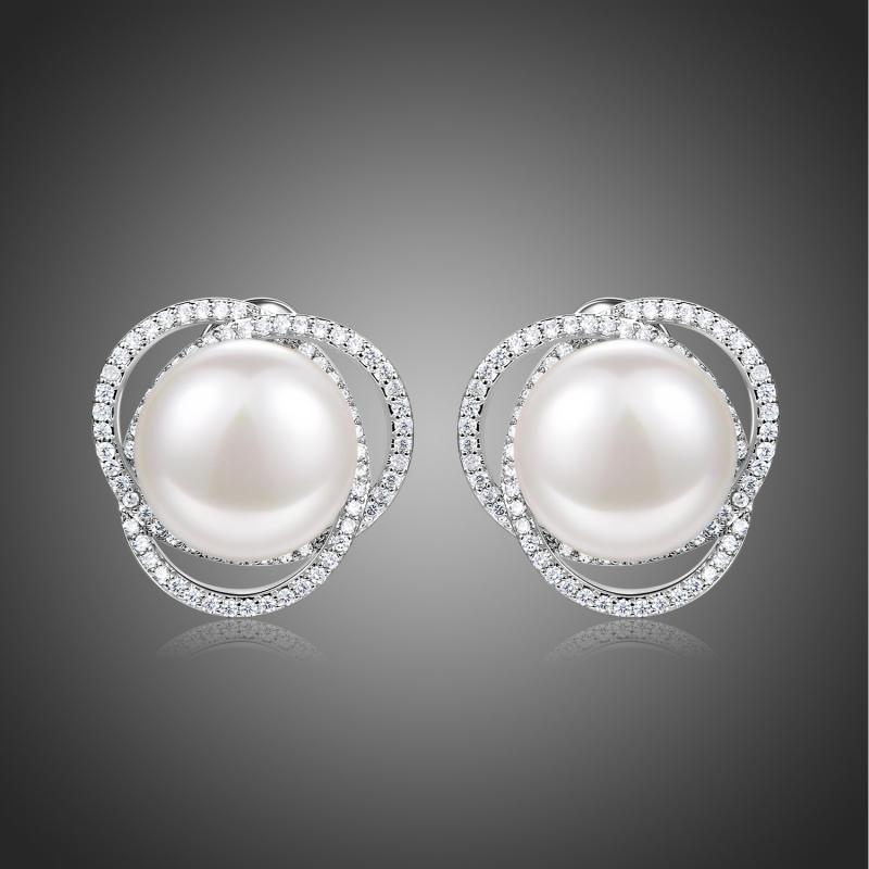 Náušnice s perlou a zirkony Edith