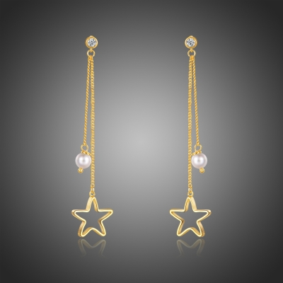 Náušnice s perlou a zirkony Candelaria - hvězda