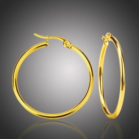 Ocelové náušnice Noema Gold - kruhy, chirurgická ocel, průměr 4 cm