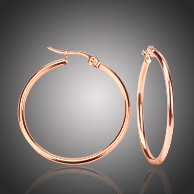 Ocelové náušnice Noema Rose Gold - kruhy, chirurgická ocel,průměr 4 cm
