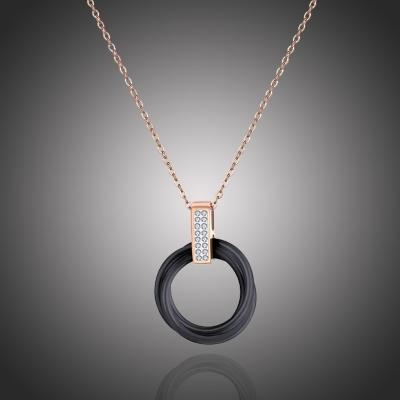 Ocelový náhrdelník se zirkony Catarin Black Gold - keramika