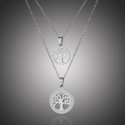 Dvojitý ocelový náhrdelník se zirkony Barbara - strom života
