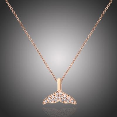 Ocelový náhrdelník se zirkony Maurice - rybí ploutev, chirurgická ocel