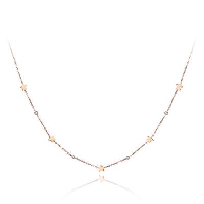 Ocelový náhrdelník se zirkony Susan Gold - hvězdy, chirurgická ocel