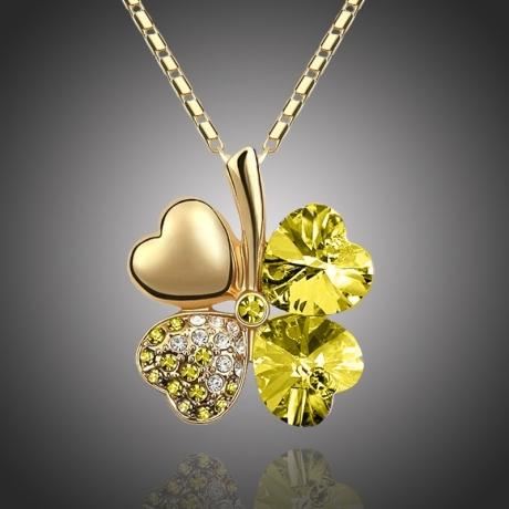 Náhrdelník Swarovski Elements Čtyřlístek pro štěstí - zlato žlutý