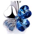 Náhrdelník Swarovski Elements Čtyřlístek pro štěstí - tmavě fialový
