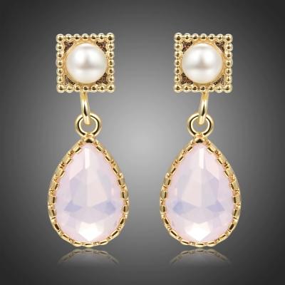 Náušnice s perlou a s růžovým opálem Maricela
